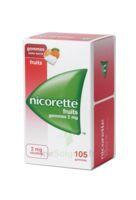 Nicorette 2 mg Gomme à mâcher médicamenteuse sans sucre fruits Plq/105 à FESSENHEIM